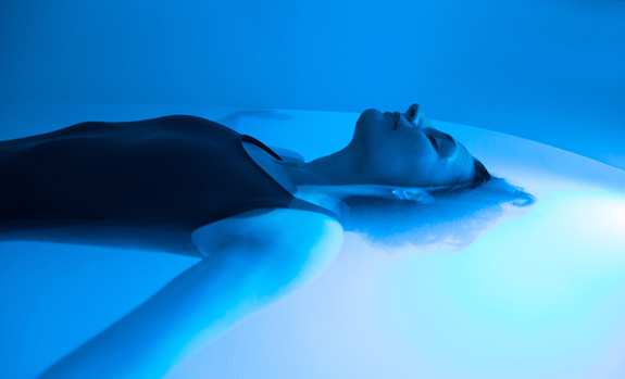 Relaxed Woman During Sensory Deprivation Float Experience